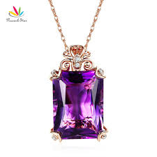 amethyst necklace pendant images Peacock star vintage style 14k rose gold 10 5 ct amethyst pendant jpg