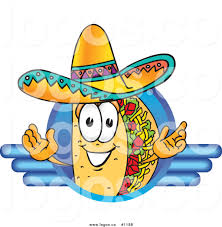 cartoon sombrero royalty free vector logo of a cartoon taco mascot composited on a