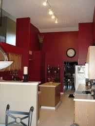 Red Kitchen White Cabinets Painting My Kitchen Red On Two Opposite Walls The Cabinets Are
