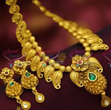 real gold necklace designs images Nl4301 one gram gold plated beautiful real look intricate peacock JPG