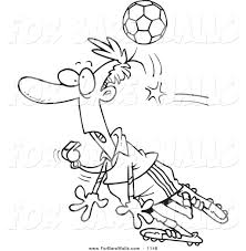 printable illustration of a coloring page of a soccer ball hitting
