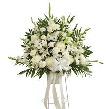 funeral flower white sympathy standing basket at send flowers