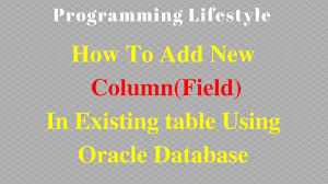 Alter Table Modify Column Oracle How To Add New Column Field In Existing Table Using Oracle