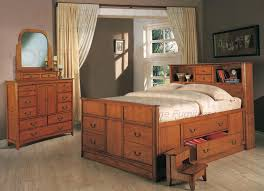 olivia 7 piece bookcase bed bedroom set in medium oak finish by