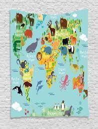 Map Of World Oceans by Animals Map Of World Children Kids Cartoon Wildlife Print Wall