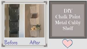 diy chalk paint metal cubby shelf farmhouse shabby chic style