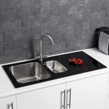 Bowl Kitchen Sink With White Glass Drainer - Sink bowls for kitchen