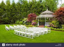 free wedding venues in oregon outdoor wedding venue in oregon with green grass and chairs ready