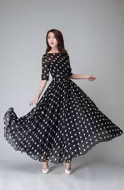 black and white dresses polka dot dress prom dress black white dress chiffon dress