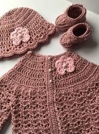 light pink sweater set crochet baby sweater hat booties set in rose pink size 3 6 months