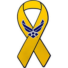 blue and yellow ribbon support our troops yellow ribbon air wing 8 magnet usamm