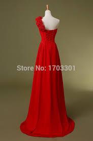 online shop one shoulder chiffon red black bridesmaid dresses long