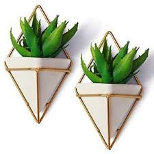 2 small decorative geometric hanging planters pot for indoor wall