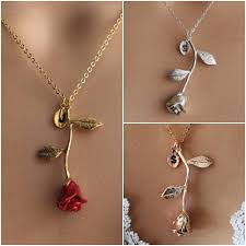 necklace rose images Original beauty and the beast rose necklace rose gold rose jpg