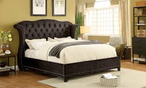 tufted headboard nailhead trim alzir contemporary style brown flannelette queen size bed w