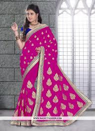 rani pink colour viscos versatile saree in rani colour