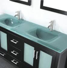 Double Vanity Top Amara 60 Inch Modern Glass Top Double Bathroom Vanity