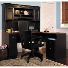 furniture bush cabot l shaped desk with hutch in black with