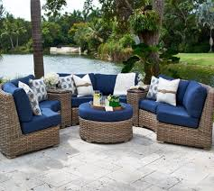 Tuscan Style Patio Furniture Sunset West Solana Wicker 3 Piece Curved Sectional Set Patio