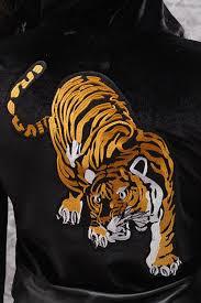 eye of the tiger velour mini jacket black burning sands