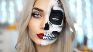 easy half skull halloween makeup tutorial ad youtube