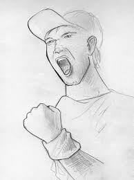 shouting man pencil sketch stock illustration image of