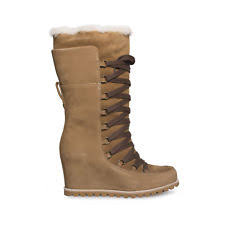 ugg australia s emalie waterproof wedge boot 7us stout brown ugg australia solid lace up knee high s boots ebay