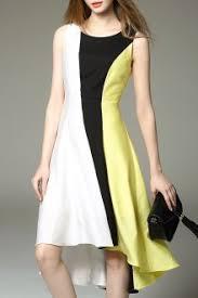 kanuona yellow color block high low swing dress midi dresses at