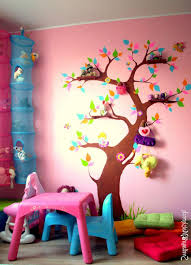 Kid Room Wall Decals by Funny Kids Room Interior Design With Tree Wall Decal On The Pink