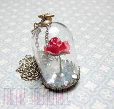 rose glass necklace images Beauty and the beast glass globe necklace once upon a time jpg