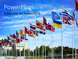 Flags Of The Wrld Powerpoint Template Different Flags Of The World Flapping In The