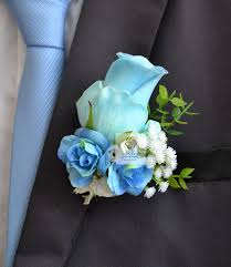blue boutonniere handmade corsages blue bridal wedding supplies groom