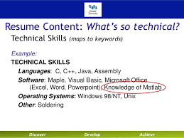 Resume Technical Skills Examples Technical Resumes With Dean Liesl Folks Fall2014 Sept