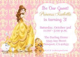 Invite Birthday Card Princess Belle Beauty U0026 The Beast Invitation Kid U0027s