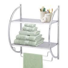 Bathroom Towel Racks And Shelves by Taylor U0026 Brown Chrome 2 Tier Wall Mounted Bathroom Towel Holder