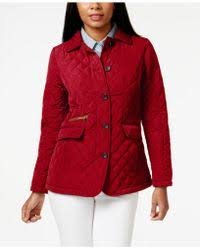 Plus Size Quilted Barn Jacket Jones New York Packable Faux Leather Trim Quilted Barn Jacket In