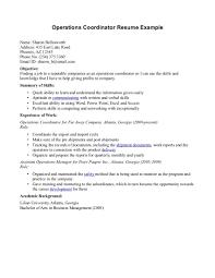 Program Coordinator Resume Operations Coordinator Resume Free Resume Example And Writing