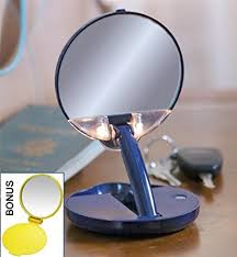 lighted travel makeup mirror 15x amazon com lighted adjustable 15x travel mirror compact in blue