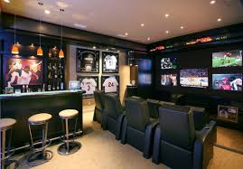 Man Cave Sofa by Sports Man Cave Design Ideas With Many Small Television Also Small