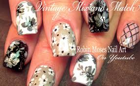 vintage grey mix u0026 match 5 black white and gray flower nail art