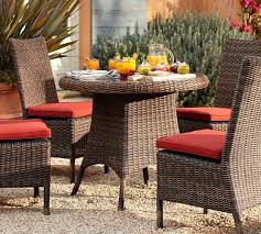pottery barn bistro table torrey all weather wicker round fixed bistro table espresso