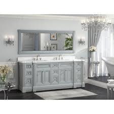 Bathroom Vanity Hutch Cabinets by 84 Inch Gray Finish Double Sink Bathroom Vanity Cabinet With Mirror
