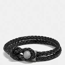 men black leather bracelet images Coach f65291 leather bracelet button black coach men