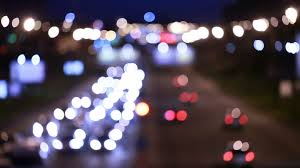 evening traffic the city lights motion blur abstract background