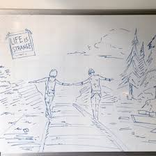 i drawed the railroad scene with marker on white board fun sketch