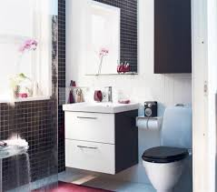 handsome small black white bathroom design using unframed interesting black and white bathroom decoration using modern wall vanity including