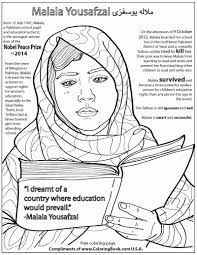 coloring books malala yousafzai free online coloring page