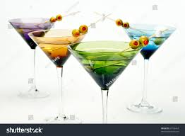 martini white four colorful martini glasses shot studio stock photo 87728434