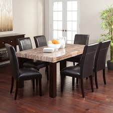 Kitchen Marble Top Carmine 7 Piece Dining Table Set With Its Creamy Caramel Colored