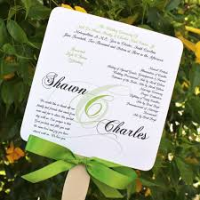wedding ceremony fan programs kiwi wedding fan program citrine designs